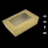 Контейнер крафт с окном для еды 170*135 900мл,уп/50шт , фото 1