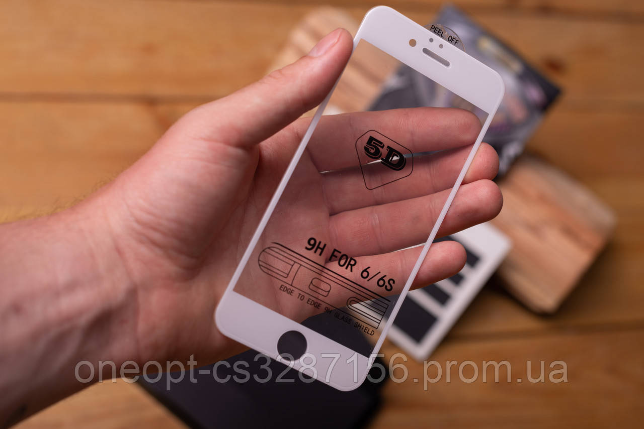 Захисне скло + захисна сітка на динамік для iPhone 6/6S Plus White
