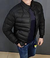 Стильна чоловіча Куртка Armani чорна гладка еко-шкіра