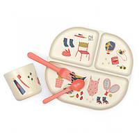 EKOBO - Набор детской посуды Kids Dinner Set, коралловый с рисунком
