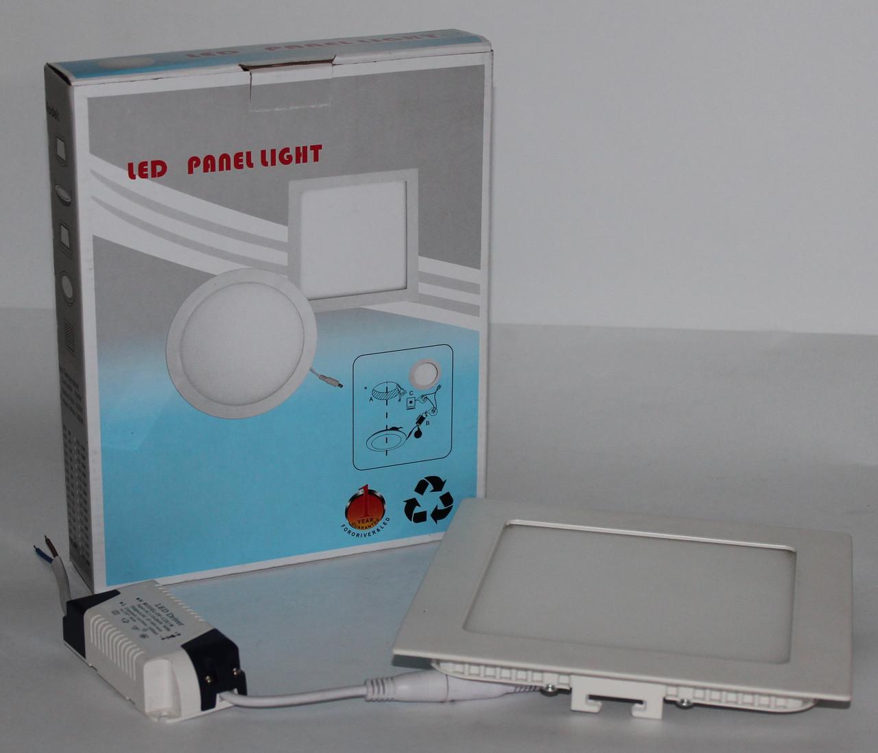 Потолочная LED лампа встраиваемая, квадратная
