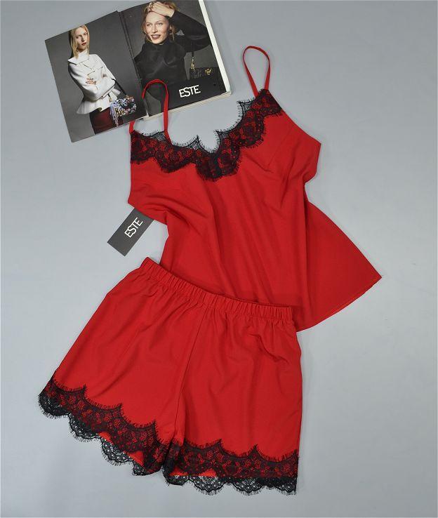 Пижама женская комплект майка и шорты с кружевом 212-красная.
