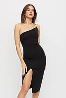 Черное облегающее платье миди с разрезом, фото 1