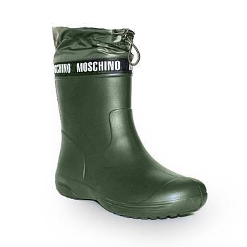 Непромокальні чоботи з утяжкой з піни, гумові чоботи кольору хакі