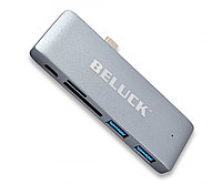 USB хаб Type C MacBook 5 в 1 перехідник hub USB 3.0 SD MicroSD Beluck TC1 Aluminum (BLKTC1) адаптер
