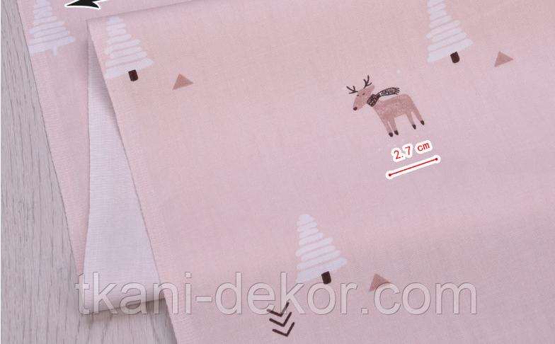 Сатин (хлопковая ткань) на беже лоси, стрелочки, елки (25*160)