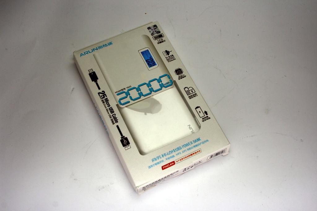 Внешний аккумулятор Power bank 20000mA Arun Y635