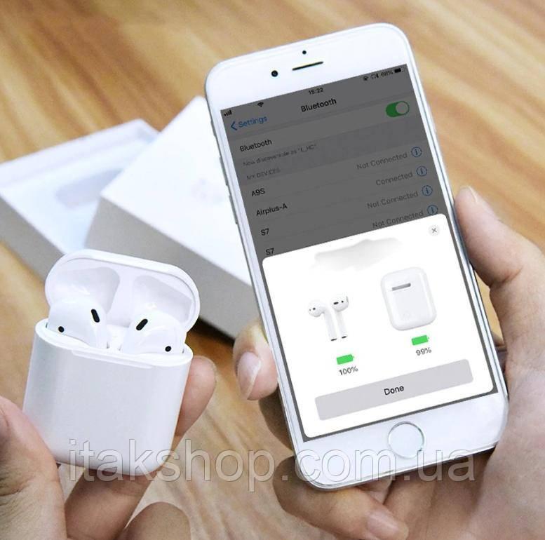 Бездротові сенсорні Bluetooth навушники i12 5.0 з кейсом Білі
