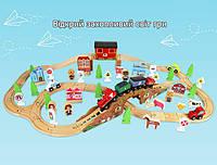 Железная дорога из дерева детская, EdWone, 100 деталей, 3+ (Brio, Ikea) E17P02