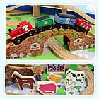Железная дорога из дерева детская, EdWone, 100 деталей, 3+ (Brio, Ikea) E17P02, фото 5