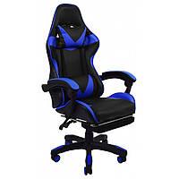 Кресло геймерское раскладное B 810 с системой качания с подставкой для ног геймерский стул компьютерный синий