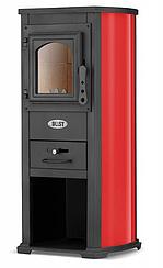 Чугунная печь камин буржуйка BLIST Ekonomik LUX 7kW, красная