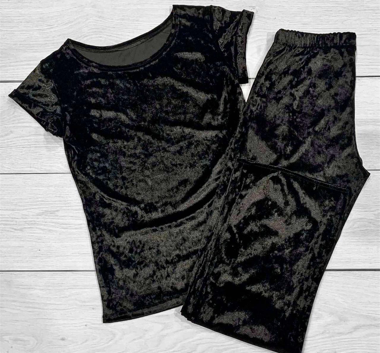 Піжами жіночі, костюм для будинку велюровий футболка і штани.