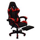 Крісло геймерське розкладне B 810 з системою гойдання з підставкою для ніг геймерський стілець компьютерны червоний, фото 4