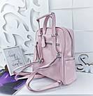 Женский рюкзак-сумка пудрового цвета, натуральная кожа, фото 2