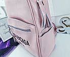 Женский рюкзак-сумка пудрового цвета, натуральная кожа, фото 4