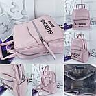 Женский рюкзак-сумка пудрового цвета, натуральная кожа, фото 6