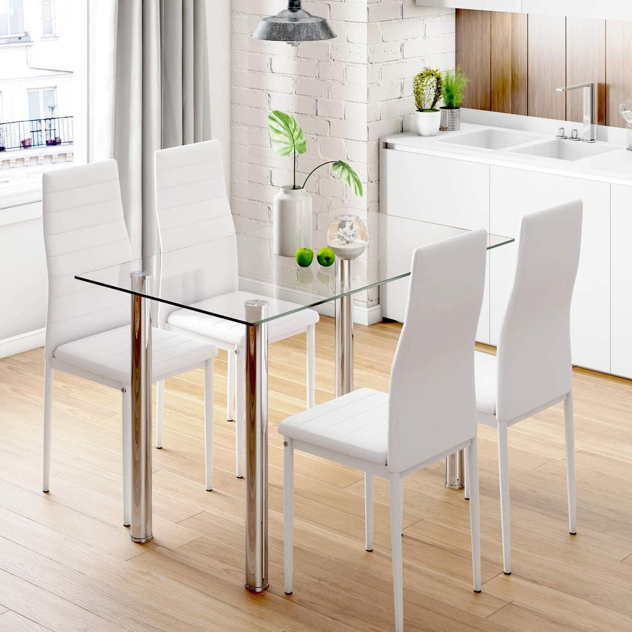 Комплект кухонной мебели: Стеклянный стол и 4 кресла  STELLA 22 БЕЛЫЙ