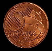 Монета Бразилии 5 сентаво 2009 г., фото 1