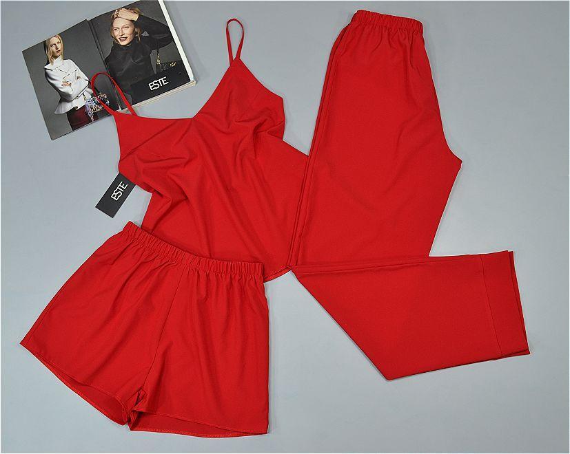 Красная пижама тройка майка штаны шорты Este однотонная 203.