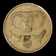 Монета Кипра 5 центов 1987 г. Голова быка, фото 1