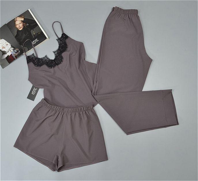 Женская пижама  с кружевом майка штаны и шорты Este 215 какао.