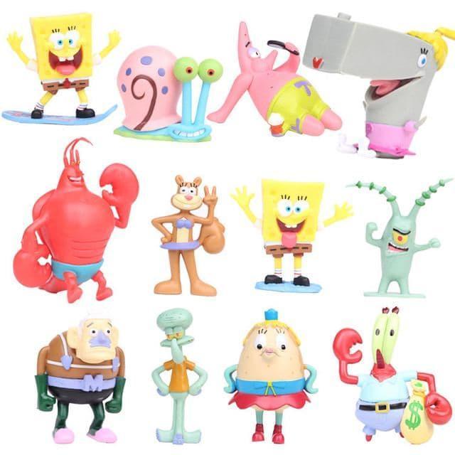 Набор фигурок Губка Боб, 12 шт, 8 см - Spongebob squarepants pack
