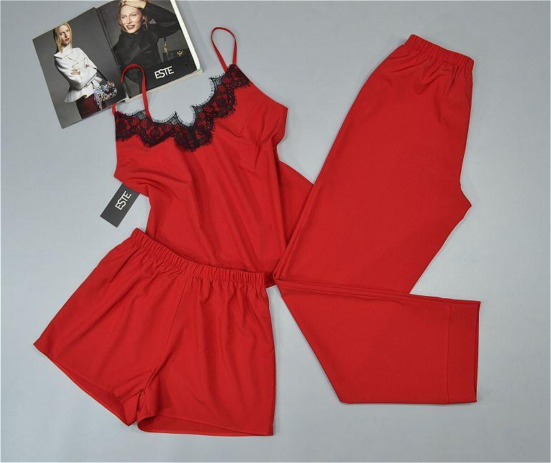 Жіноча піжама трійка Este. Комплект майка штани шорти 215 корал.