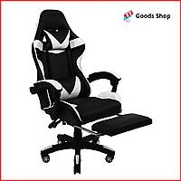 Кресло геймерское Bonro B-810 c подставкой для ног игровое компьютерное офисное раскладное мягкое белое