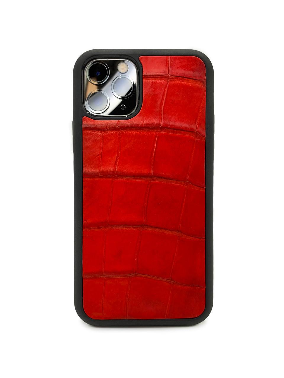 Чехол для iPhone 12 Pro красного цвета из кожи Крокодила