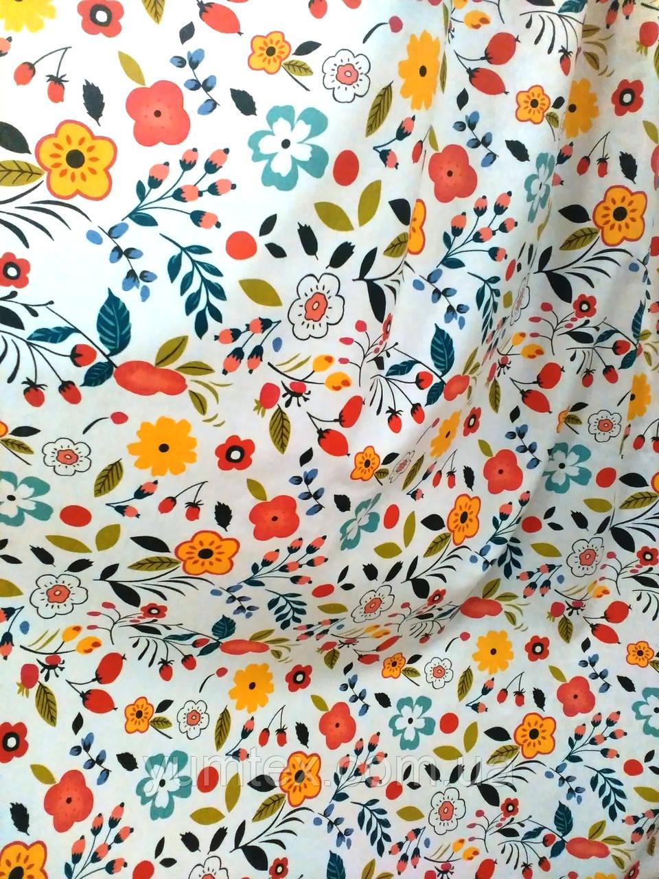 Ткань хлопковая цветочки и ягодки, цвет № 2