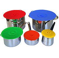 Набор силиконовых крышек для хранения пищевых продуктов 5 шт.