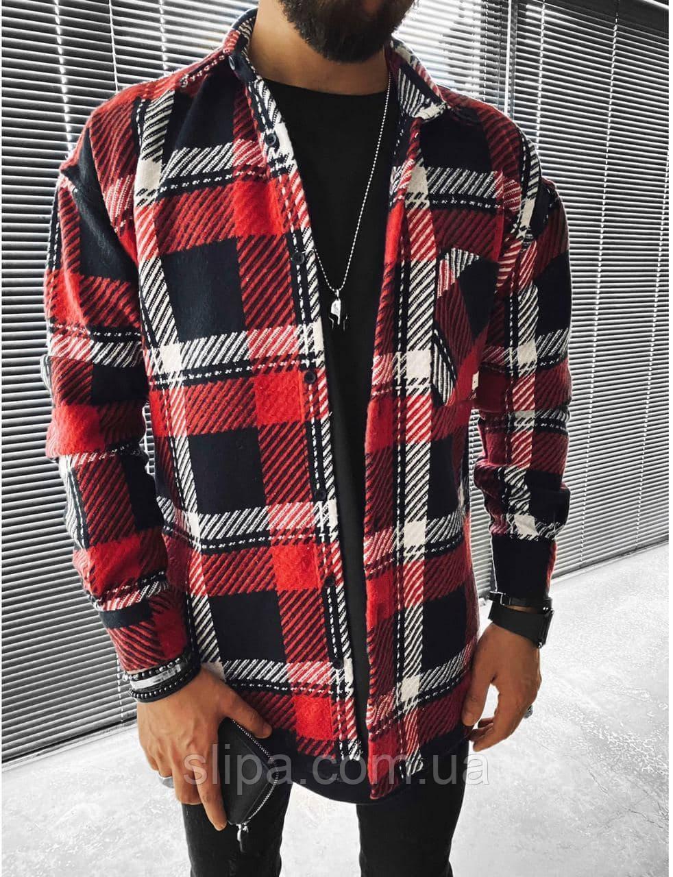 Мужская стильная байковая рубашка оверсайз, красная с чёрным ( Турция )