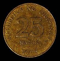 Монета Филиппин 25 сентимо 2002 г., фото 1