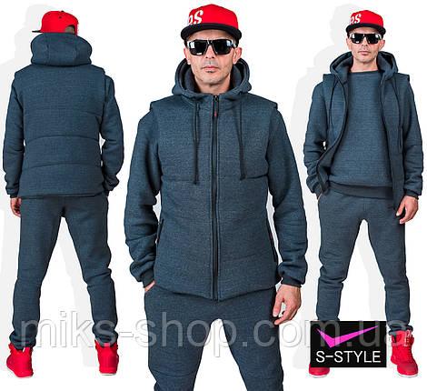 Теплий чоловічий спортивний костюм №113 М, L,  XL, XXL, фото 2