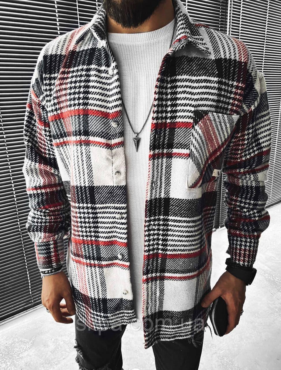 Чоловіча стильна байкова сорочка оверсайз, біла з чорним і червоним ( Туреччина )