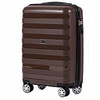 Большой пластиковый чемодан на 4 колесах Wings PP07 L (коричневый / copper)