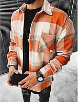 Чоловіча стильна байкова сорочка оверсайз, білий з оранжевим ( Туреччина )