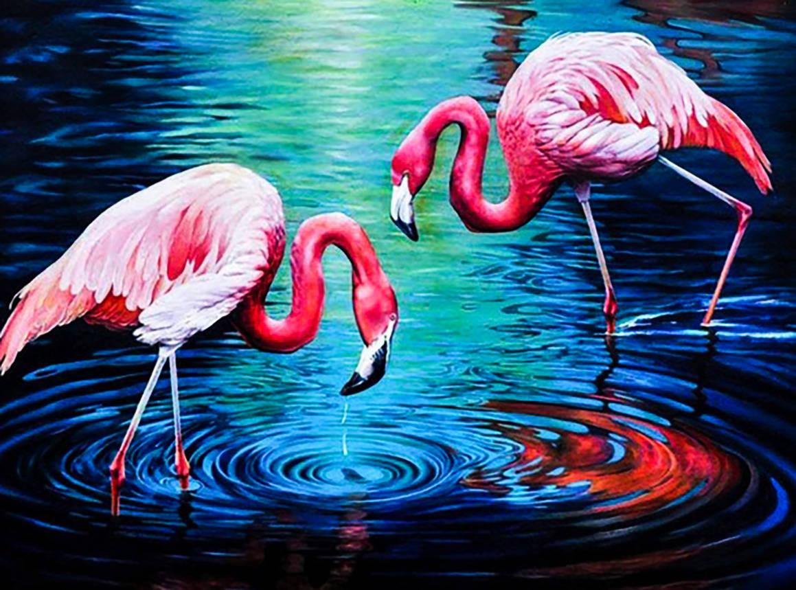 """Набор алмазной вышивки """"Фламинго"""". Размер 45*35 см., фото 2"""