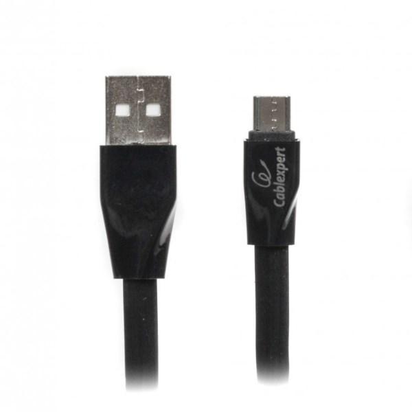 Кабель Cablexpert USB 2.0 MicroUSB 5pin (CCPB-M-USB-01BK) A-папа/Micro B-папа, преміум, плоский, 2.4 А (код