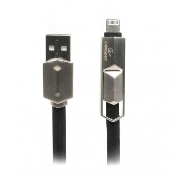 Кабель Cablexpert CCPB-ML-USB-05BK BM-папа/Lightning/Micro USB, 1.0 м, преміум, плоский, 2.4А (код 100142)