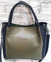 Женская зеленая с черным сумка Dior из эко-кожи с ремешком на цепочке 30*26 см