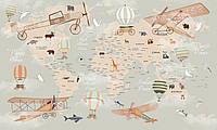 Фотообои Карта мира путешественника воздушные шары и самолеты для детей