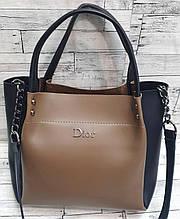 Женская песочная с черным сумка Dior из эко-кожи с ремешком на цепочке 30*26 см