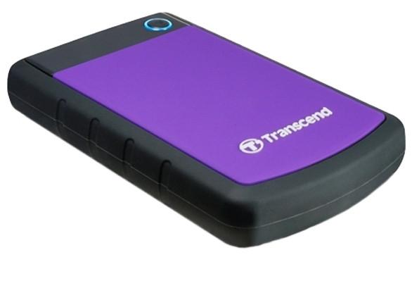 Зовнішній диск HDD External 2.5'' 2TB Transcend StoreJet 25H3P  USB3.0, чорно-фіолетовий, протиударний