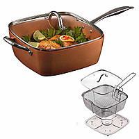 Глубокая квадратная сковорода фритюрница пароварка 3.5 л на плиту и в духовку, фото 1