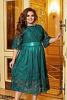 Воздушное женское платье из сетки с вышивкой на трикотажном подкладе 48 по 62 размер, фото 1