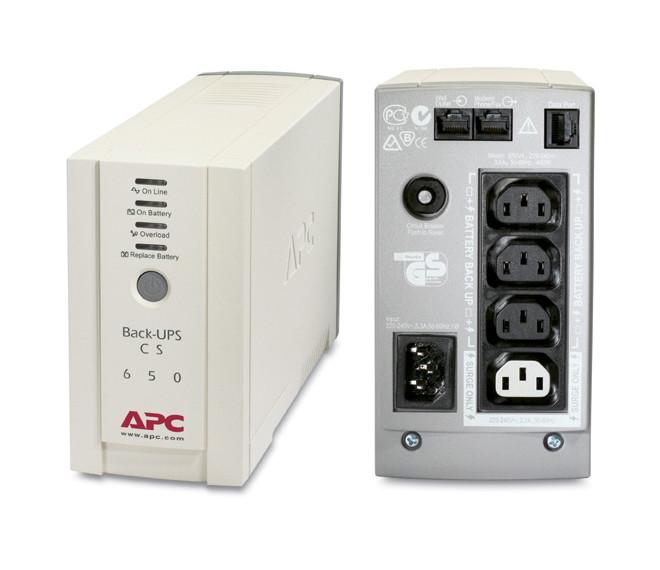 Блок безперебійного живлення APC Back-UPS CS 650VA (BK650EI) (4роз., 650ВА/400Вт, 320Дж, 14хв 50%, RJ-11,