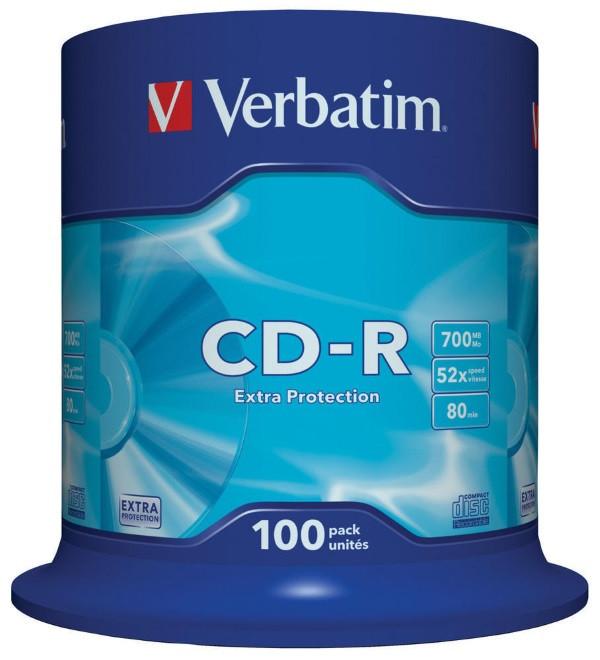 Диск CD-R 700MB Verbatim 52x Extra Protection Cake 100pcs (43411) (код 11707)