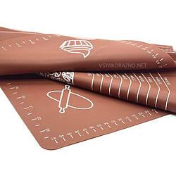 Силиконовый коврик для выпечки антипригарный, большой 62*42 / Силіконовий килимок для випічки ( коричневый)